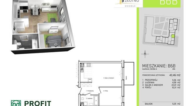 B6b Na Sprzedaż 2 Pokoje 425 M2 Osiedle Nowe Złotno