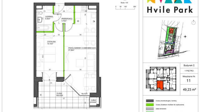 Nowe Mieszkanie C 111piętro Na Sprzedaż 2 Pokoje 49 M²