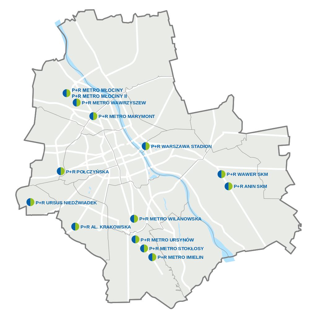 Parkuj i Jedź w Warszawie - mapa