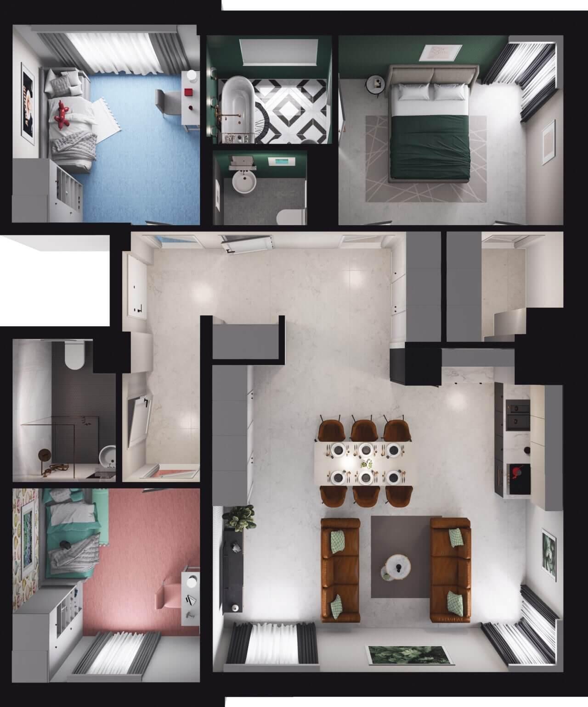 wizualizacja mieszkania Atmo Wrocław
