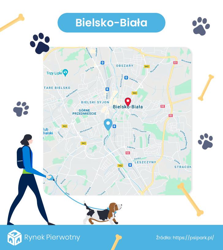 mapa - wybiegi dla psów w Bielsko-Białej