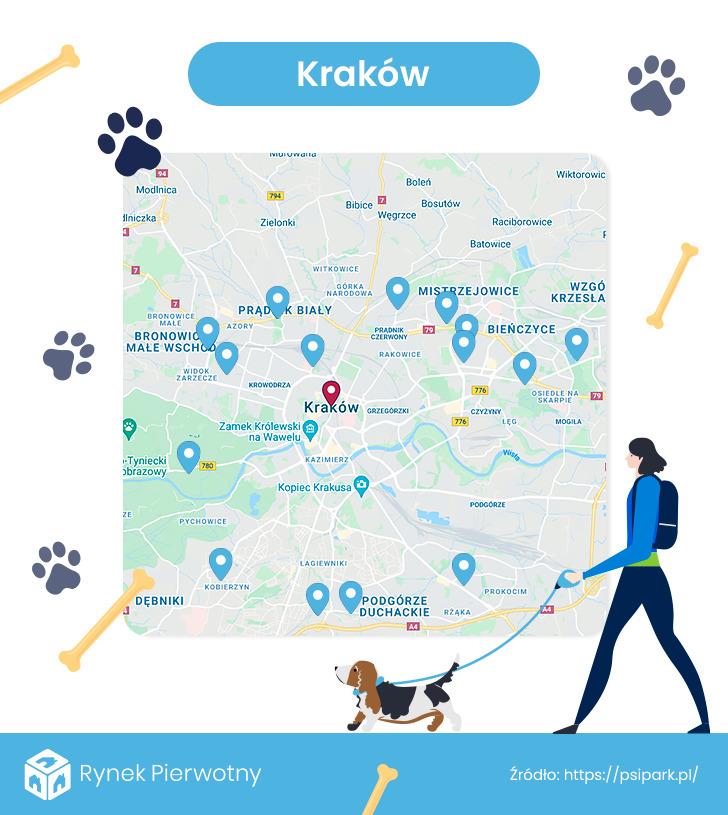 mapa- wybiegi dla psów - Kraków
