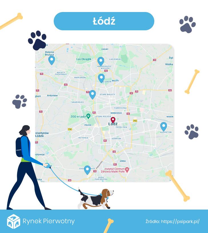 mapa - wybiegi dla psów w Łodzi