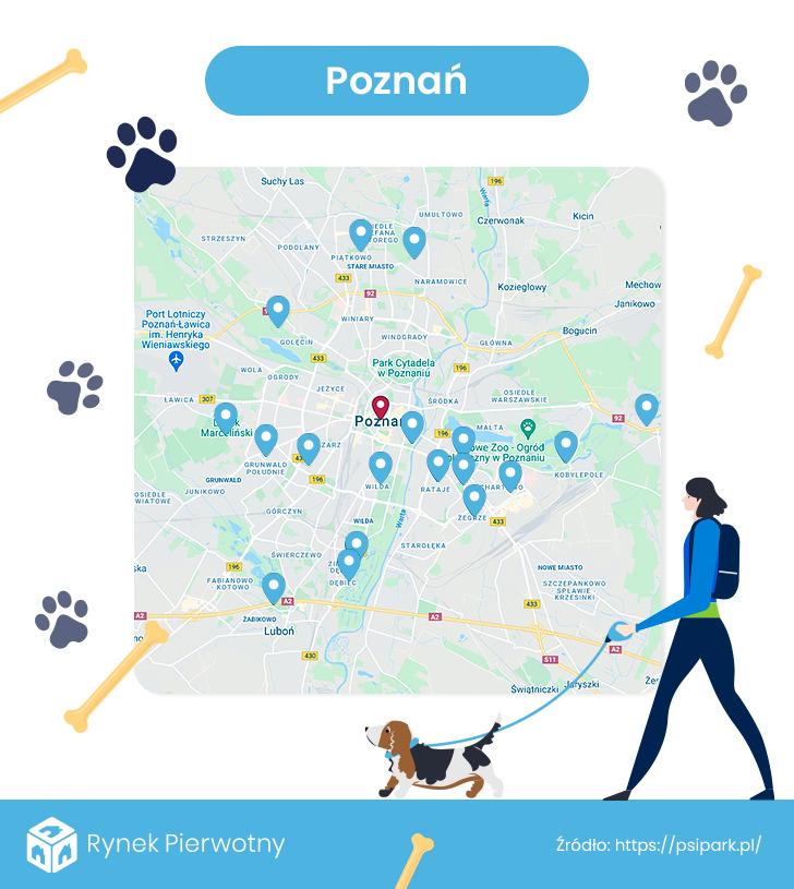 mapa - wybiegi dla psów w Poznaniu