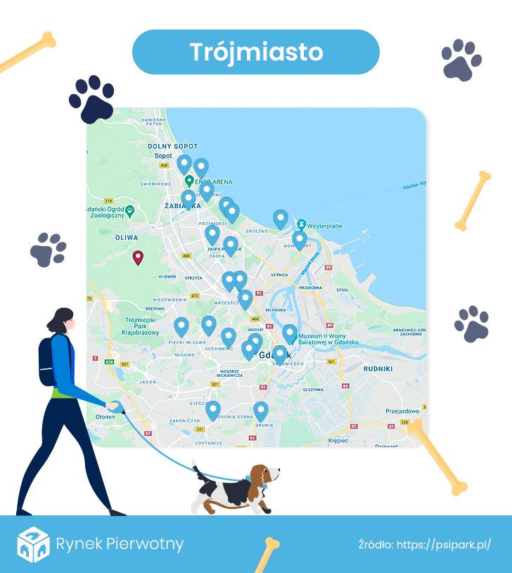 mapa - wybiegi dla psów w Trójmieście