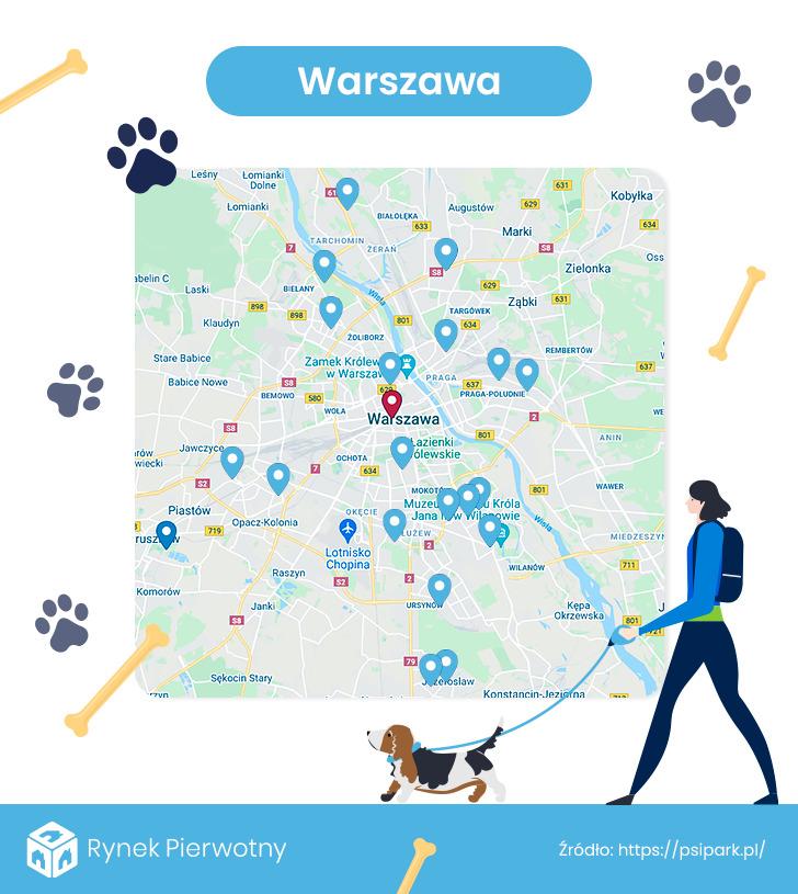 mapa - wybiegi dla psów w Warszawie