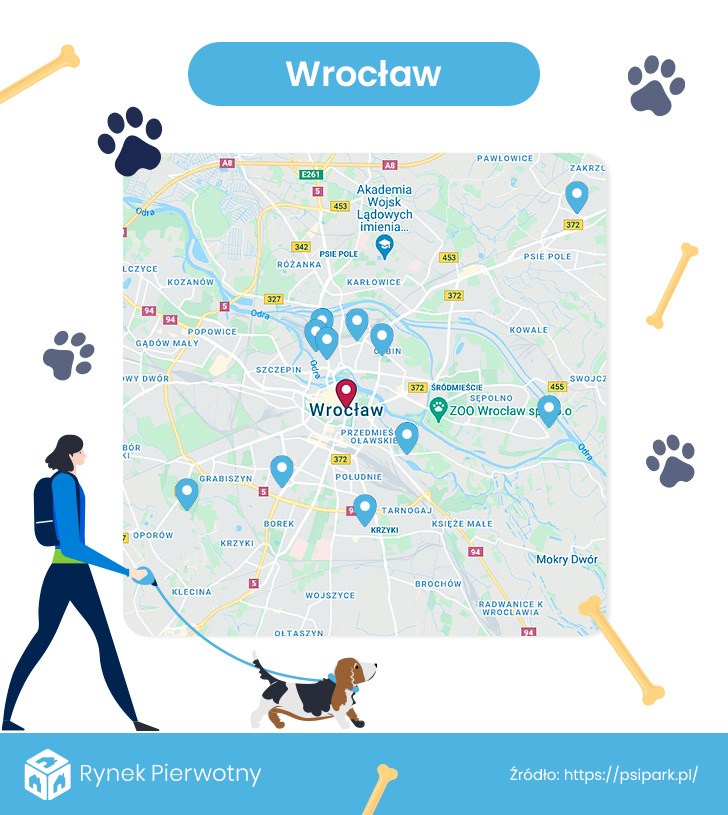 mapa - wybiegi dla psów we Wrocławiu