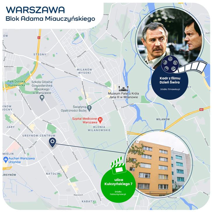 mapka Warszawy - blok Adama Miauczyńskiego