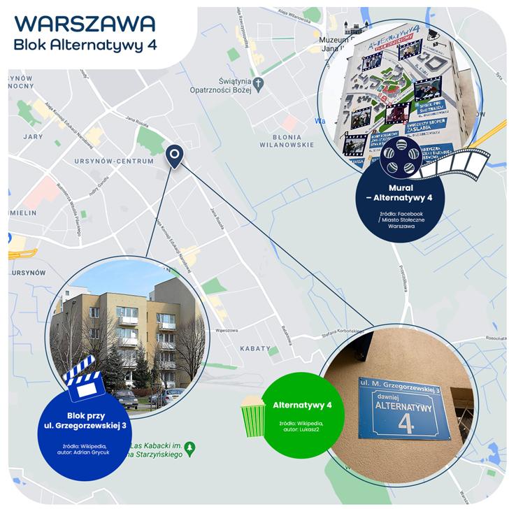 mapka Warszawy - blok Alternatywy 4