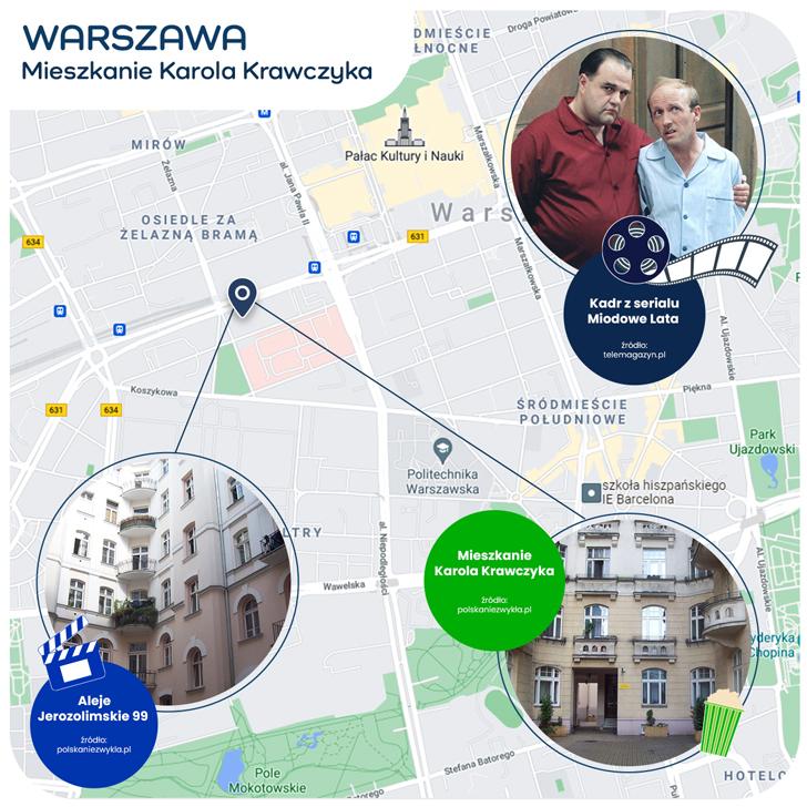mapka Warszawy - mieszkanie Karola Krawczyka