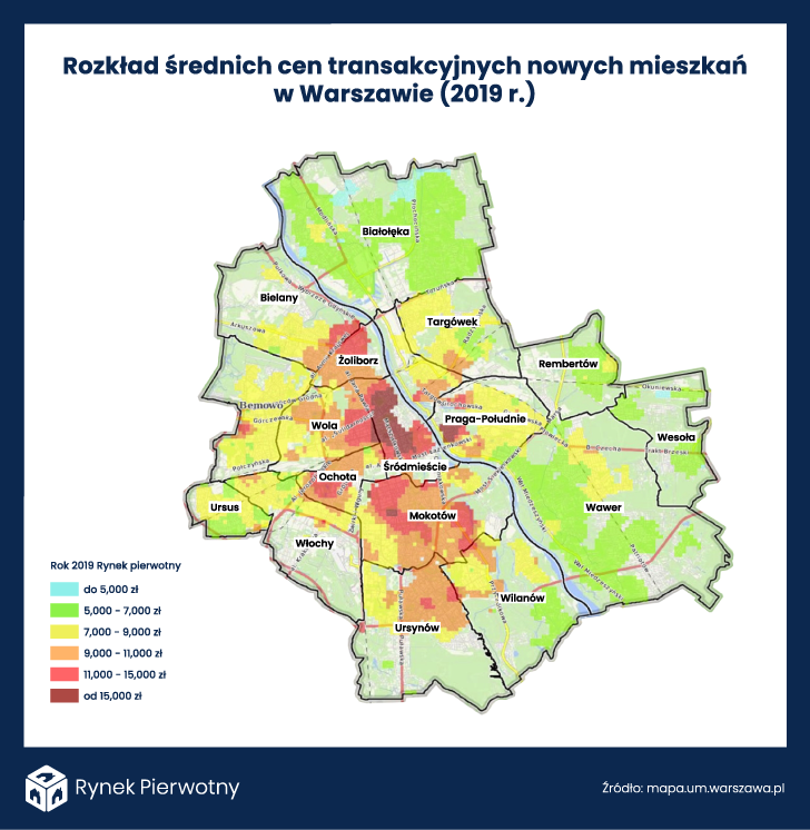 rozkład cen nowych mieszkań w Warszawie