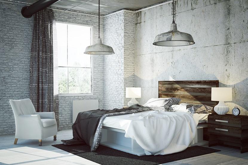 sypialnia w stylu loftowym